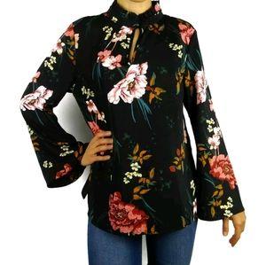 Lark & Ro floral ruffle neck flare sleeve blouse
